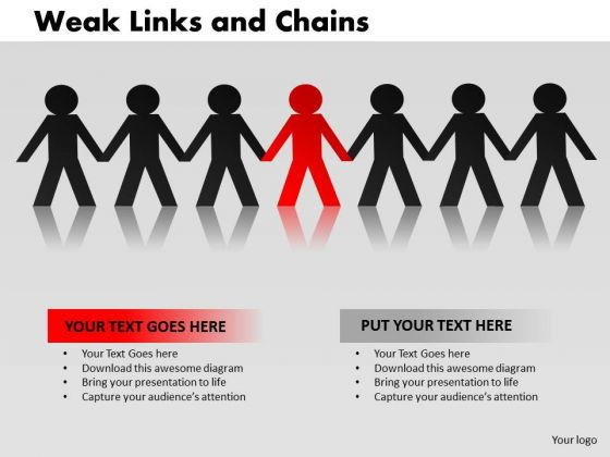 PowerPoint Slidelayout Teamwork Weak Links Ppt Process