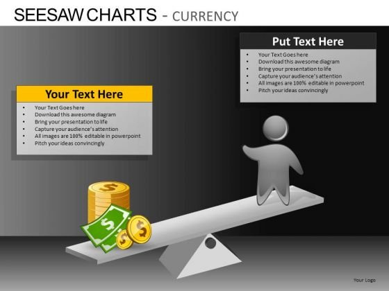 PowerPoint Slides Business Growth Seesaw Charts Currency Ppt Slides