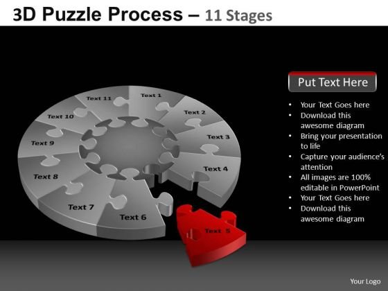 PowerPoint Slides Business Pie Chart Puzzle Process Ppt Themes