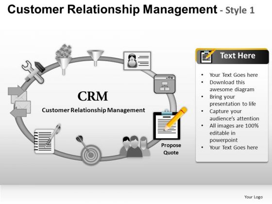 PowerPoint Slides Business Success Customer Relationship Management Ppt Templates