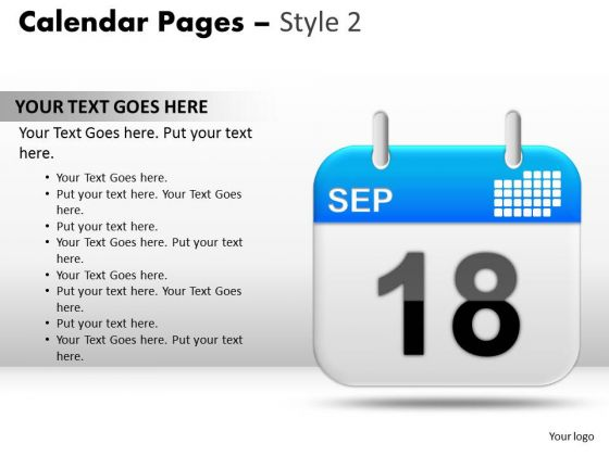 PowerPoint Slides Calendar 18 Sep Process Ppt Slide Designs