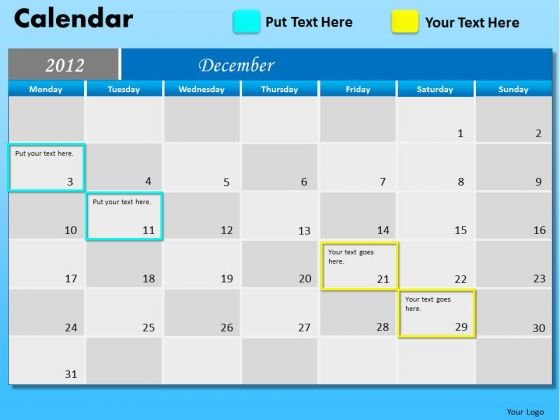PowerPoint Slides Corporate December 2012 Calendar Ppt Theme