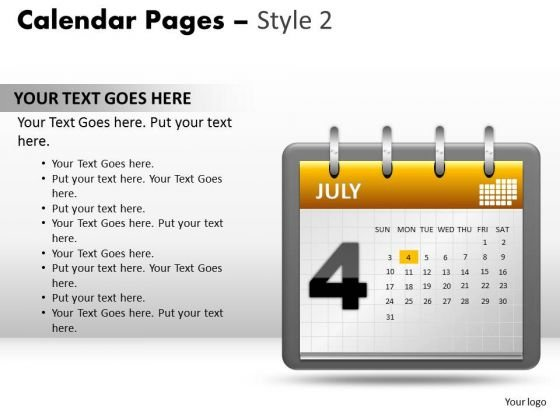 PowerPoint Slides Diagram Calendar 4 July Ppt Presentation