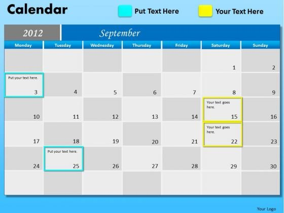 PowerPoint Slides Executive September Calendar 2012 Ppt Layout