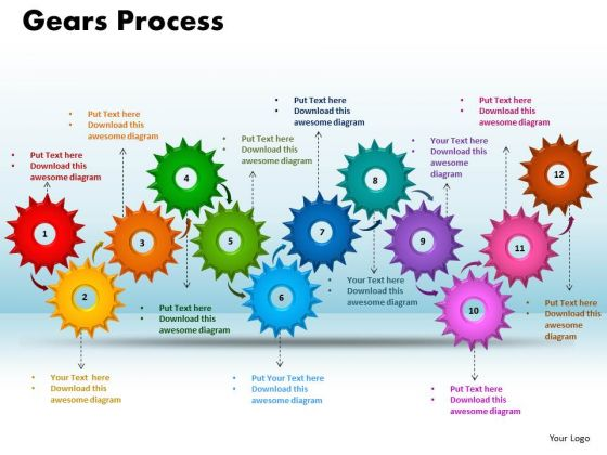 PowerPoint Slides Gears Process Business Ppt Templates