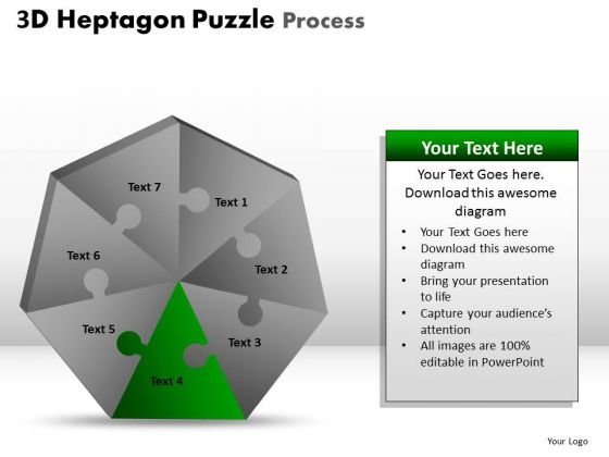 PowerPoint Slides Graphic Heptagon Puzzle Ppt Template