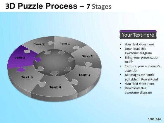 PowerPoint Slides Growth Jigsaw Pie Chart Ppt Backgrounds