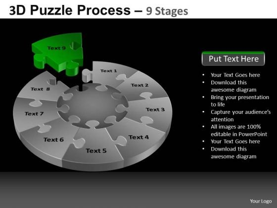 PowerPoint Slides Growth Pie Chart Puzzle Process Ppt Process