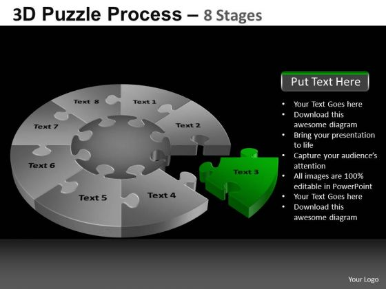 PowerPoint Slides Growth Pie Chart Puzzle Process Ppt Slidelayout