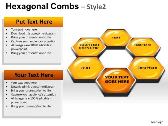 PowerPoint Slides Hexagonal Combs Process Ppt Design Slides