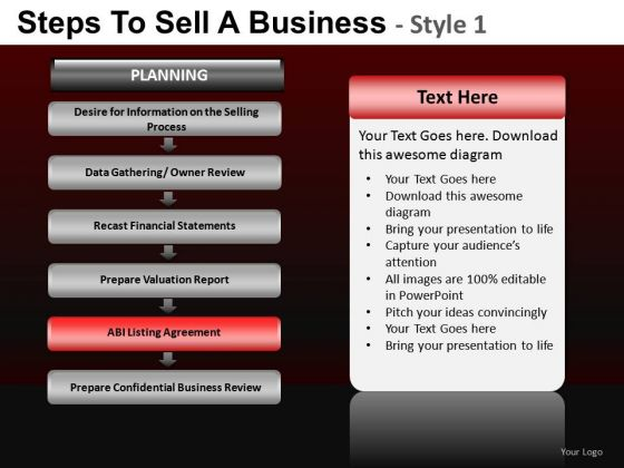 PowerPoint Slides On Steps To Sell A Business Ppt Diagram Templates