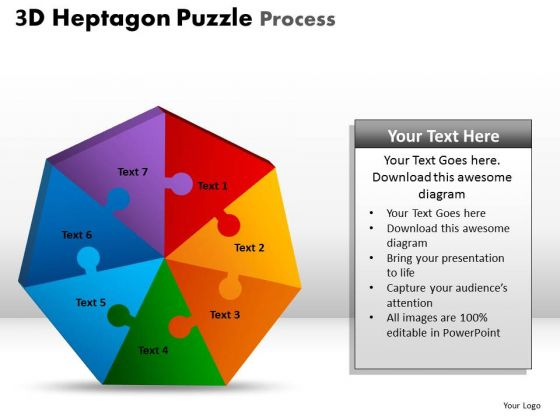 PowerPoint Slides Process Heptagon Puzzle Ppt Themes