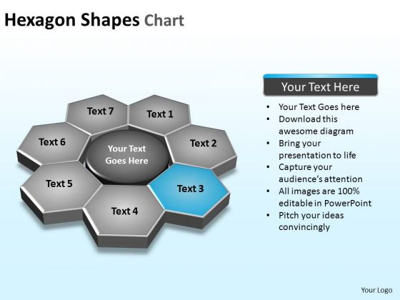 PowerPoint Slides Process Hexagon Shapes Ppt Theme