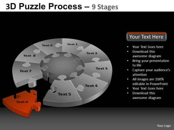 PowerPoint Slides Sales Pie Chart Puzzle Process Ppt Layout
