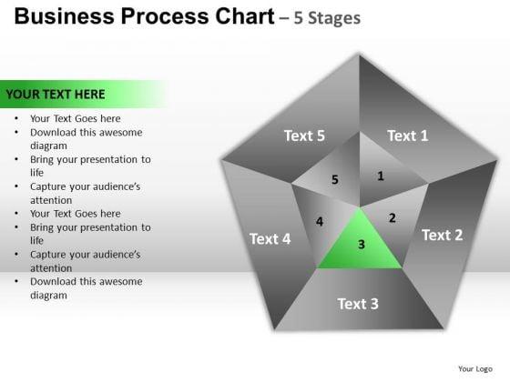 PowerPoint Slides Teamwork Pentagon Pie Chart Ppt Design