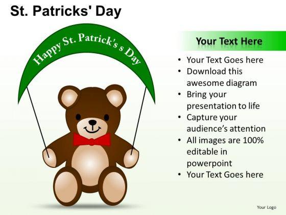 PowerPoint Teddy Bear Patricks Day Ppt Presentation Designs