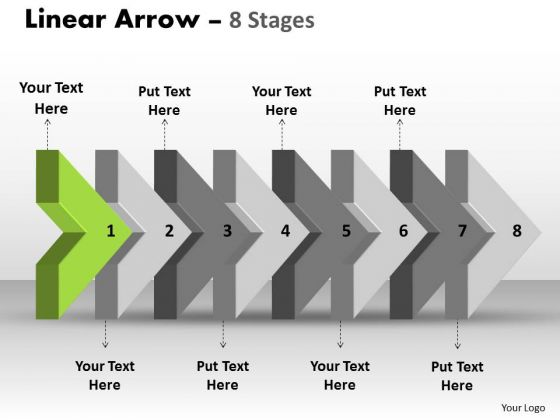 PowerPoint Template 3d Arrow Representing Eight Sequential Steps Image