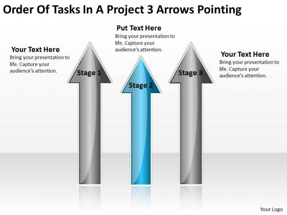 PowerPoint Template Arrows Of Tasks Project 3 Pointing