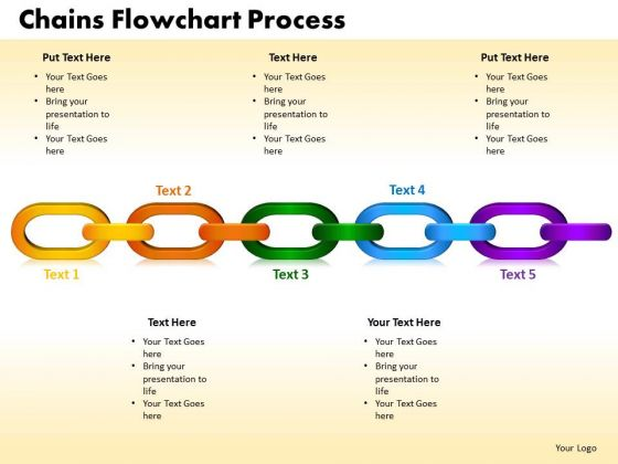 PowerPoint Template Chains Flowchart Process Marketing Ppt Slides