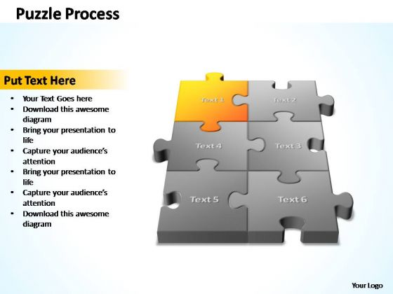 PowerPoint Template Chart 3d Puzzle Process Ppt Slides