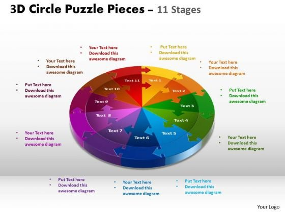 Powerpoint Template Chart Circle Puzzle Ppt Template Powerpoint