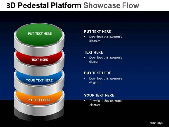 PowerPoint Template Chart Pedestal Platform Showcase Ppt Theme