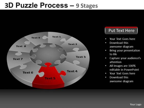 PowerPoint Template Chart Pie Chart Puzzle Process Ppt Slide