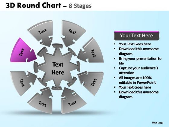 PowerPoint Template Chart Pie Chart With Arrows Ppt Slide