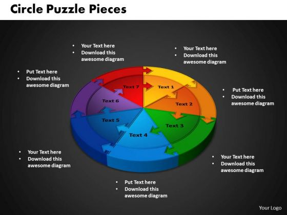 PowerPoint Template Circle Puzzle Leadership Ppt Backgrounds