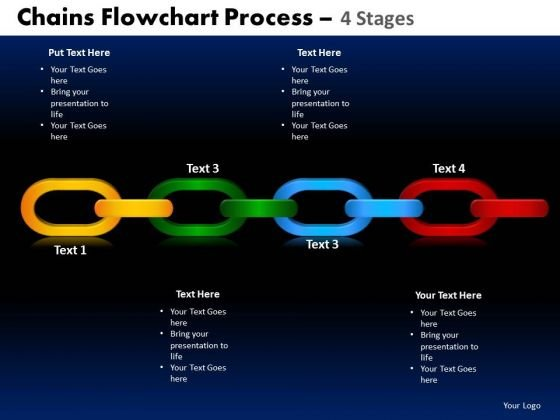 PowerPoint Template Circular Chart Chains Flowchart Ppt Themes