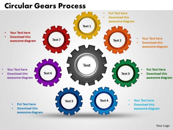 PowerPoint Template Circular Gears Process Teamwork Ppt Backgrounds