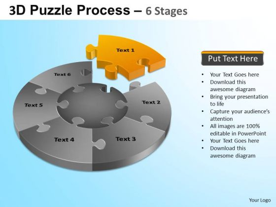 PowerPoint Template Company Jigsaw Pie Chart Ppt Slides