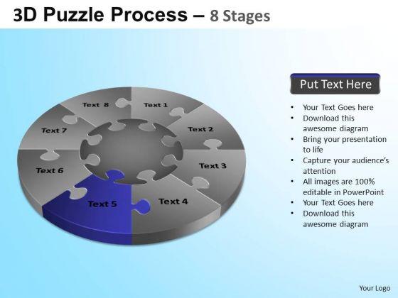 PowerPoint Template Company Success Puzzle Segment Pie Chart Ppt Design