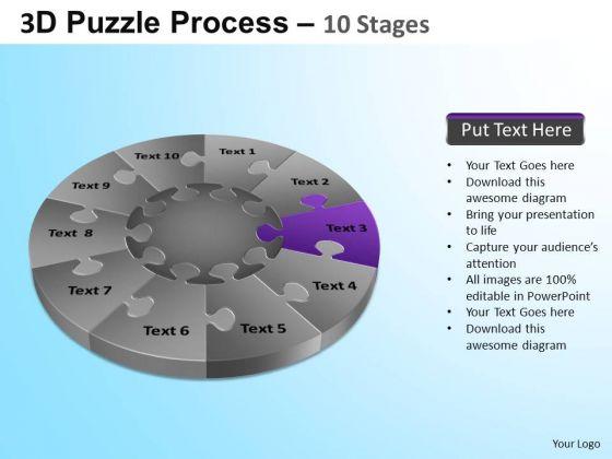 PowerPoint Template Company Success Puzzle Segment Pie Chart Ppt Slide