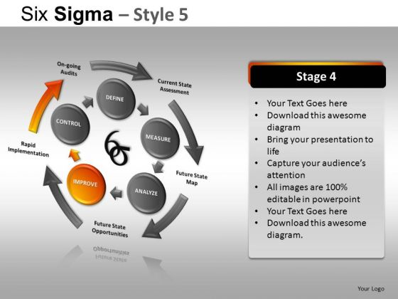 PowerPoint Template Company Teamwork Six Sigma Ppt Slide