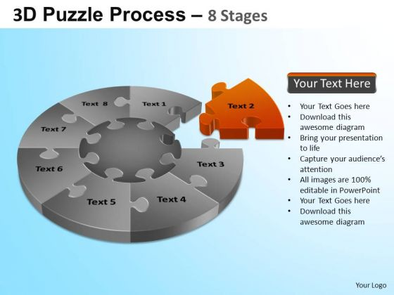 PowerPoint Template Corporate Growth Puzzle Segment Pie Chart Ppt Theme