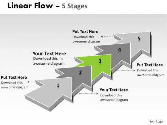 PowerPoint Template Corporation Step By Non Linear Ideas Flow Business Image