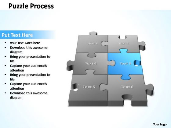 PowerPoint Template Diagram 3d Puzzle Process Ppt Slides