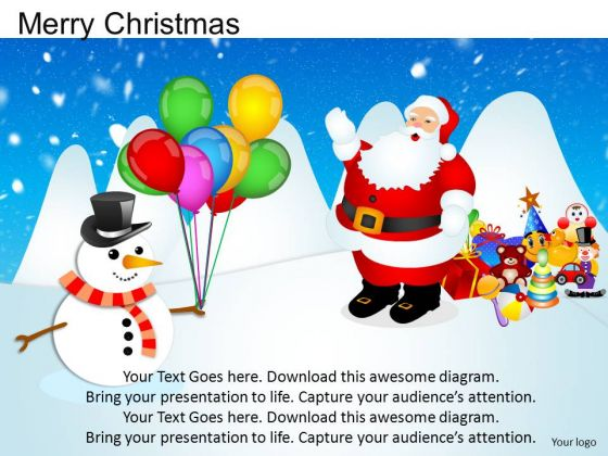 PowerPoint Template Diagram Merry Christmas Ppt Process