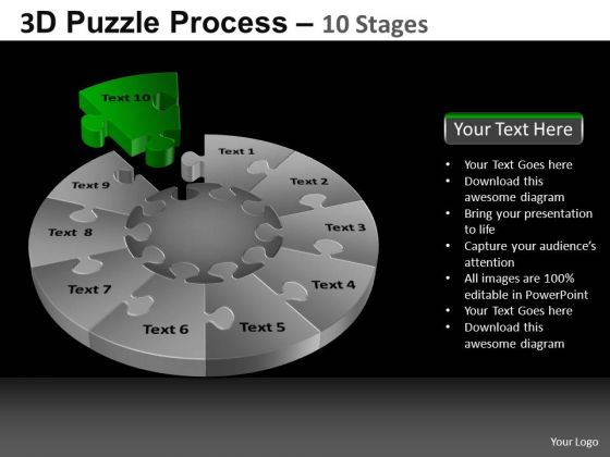 PowerPoint Template Diagram Pie Chart Puzzle Process Ppt Theme