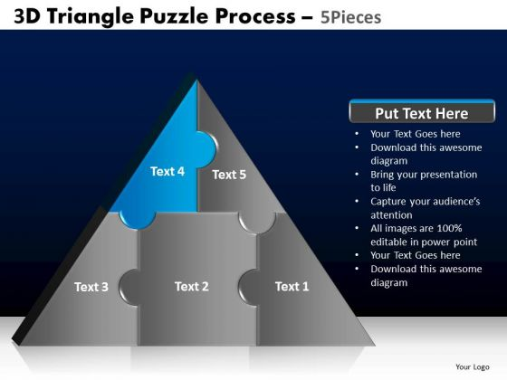 PowerPoint Template Editable Triangle Puzzle Ppt Presentation Designs