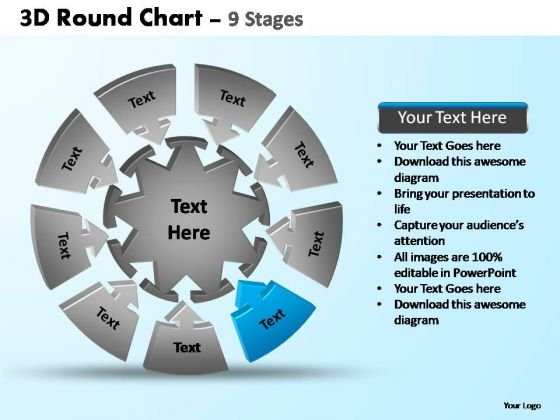 PowerPoint Template Global Pie Chart With Arrows Ppt Backgrounds