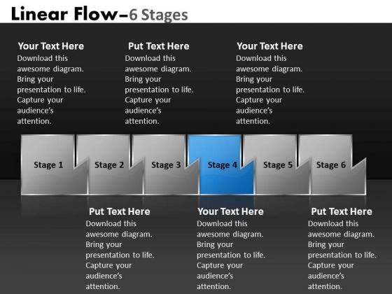 PowerPoint Template Illustration Of Six Sequential Steps Route Business Design