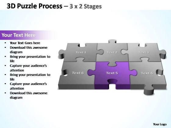 PowerPoint Template Image 3d Puzzle Process Ppt Slides