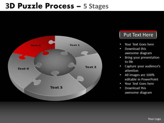 PowerPoint Template Image Pie Chart Puzzle Process Ppt Templates