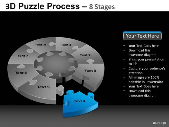 PowerPoint Template Leadership Pie Chart Puzzle Process Ppt Design Slides