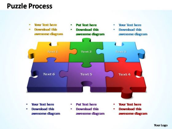PowerPoint Template Marketing 3d Puzzle Process Ppt Slides