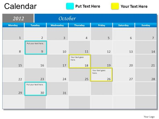 PowerPoint Template October 2012 Calendar Ppt Slides