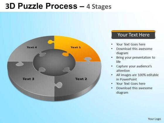 PowerPoint Template Strategy Jigsaw Pie Chart Ppt Slide