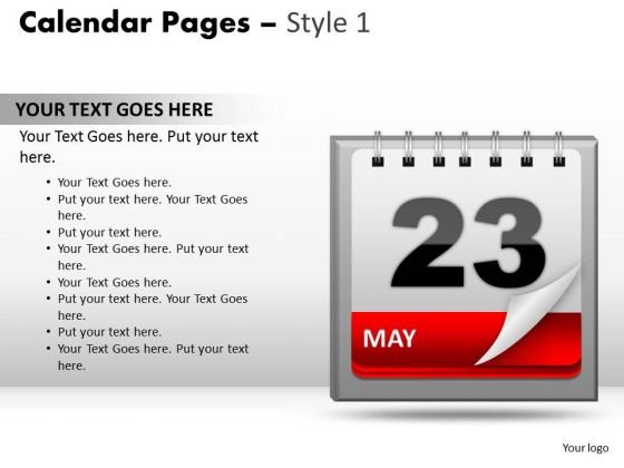 PowerPoint Template Success Calendar 23 May Ppt Templates
